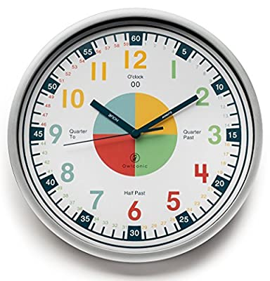 Teaching Clock with Silent Movement | Educational Clock that Makes Kid's Learning Time Faster + Fun. Quiet Child's Wall Clock Perfect for Parents and Teachers Toddler's Bedroom or Classroom.
