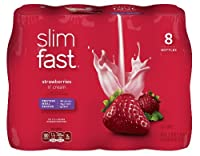 SlimFast Ready to Drink Bottles, Strawberries and Cream Meal Replacement Shake, 10-Ounces, 8 Count by Slim-Fast