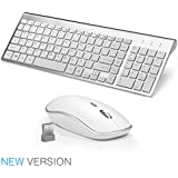 JOYACCESS Wireless Keyboard and Mouse Combo Full-size Compact for PC and Mac - Black … (SILVER)