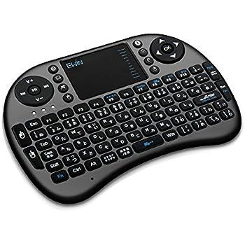 Ewin® ミニ キーボード Bluetooth 3.0 タッチパッド搭載 マウスセット ポータブル 超小型 ワイヤレス キーボード 日本語配列 92キー 多機能ボタン USBレシーバー付き Mini Bluetooth Keyboard【日本語説明書と1年の保証付き】ブラック
