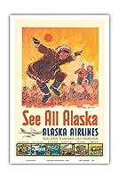 アラスカを見る - アラスカ航空 - コッツェーヴェエスキモーのダンス - ビンテージな航空会社のポスター によって作成された ジェス C. c.1960s - アートポスター - 31cm x 46cm