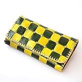 DaysArt(デイズアート)長財布 3つ折り 本革 チェック柄 パッチワーク カラフル ワックスコード手縫い レザーウォレット 牛革 革財布