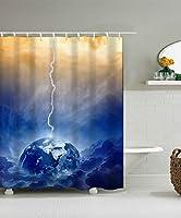 LIANGJUN シャワーカーテン 3次元地球の浴室シャワーカーテン防水とフック付きカビ対策 (サイズ さいず : 150*180CM)