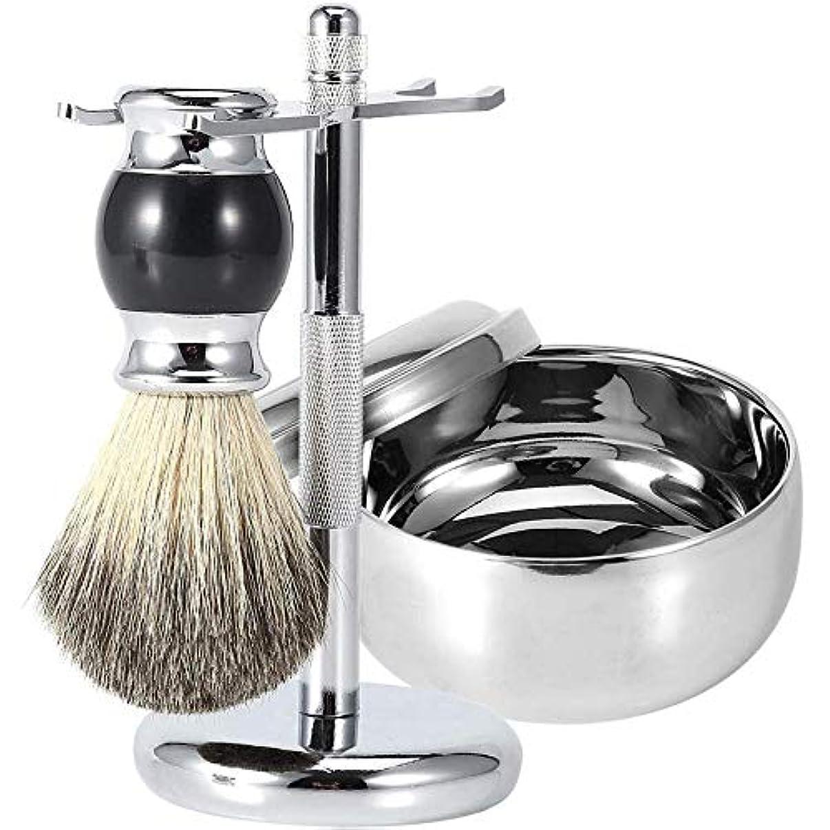 死石鹸ラップ3 シェービング用品 シェービングツールキット シェービングブラシセット高級感 メンズ用 髭 シェービングブラシ