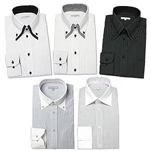 (ドレスコード101) 10サイズ展開でぴったりが見つかる。ワイシャツ 5枚セット ドレスシャツ 長袖(トップ芯加工) メンズ Yシャツ モノトーン セット L