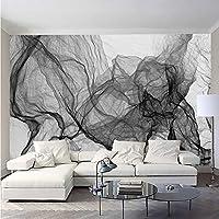 Jason Ming 壁の壁画壁紙用壁3D現代のファッションブラックホワイトストライプ波ラインリビングルームテレビの背景アート家の装飾-150X120Cm