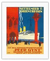 地中海とオリエント - 海運会社ビクターSchuppe - ツインスクリュースチーマーペール・ギュント上の地中海とオリエントクルーズ - ビンテージな遠洋定期船のポスター によって作成された ルドルフ・リュファー c.1925 - キャンバスアート - 41cm x 51cm キャンバスアート(ロール)