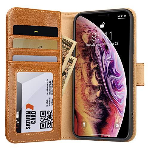 Jisoncase iPhone XS Max ケース 手帳型 本革 ワイヤレス充電対応 カード収納 マグネット アイフォンXS カバー スタンド機能(iPhone XS Max, ブラウン)