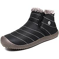 FUSHITON Women Winter Fully Fur Lined Anti-Slip Waterproof Outdoor Slip On Snow Boots