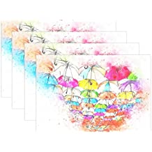 Umbrella Art Abstract Watercolor Vintage T-Shirt Placemats Set of 4 Heat Insulation Stain Resistant for Dining Table Durable Non-Slip Kitchen Table Place Mats