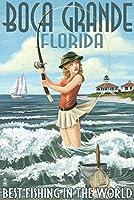 Boca Grande、フロリダ州–Pinup Girl釣り 24 x 36 Signed Art Print LANT-41856-710