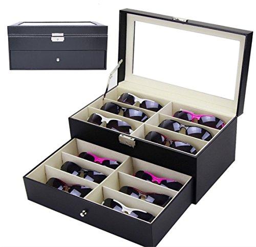 gardenlightess メガネ サングラス 収納ケース ボックス コレクションケース 二段式 12本用