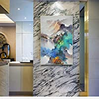 現代の抽象風景山の油絵キャンバスのポスターとプリント壁アート写真用リビングルームの装飾なしフレーム,50x75cm