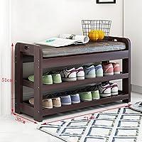 木製の靴ラックベンチ2階のホルダーオーガナイザー快適なシートストレージシェルフ廊下の居間(71 * 30 * 51センチメートル)のための多機能シェルフ