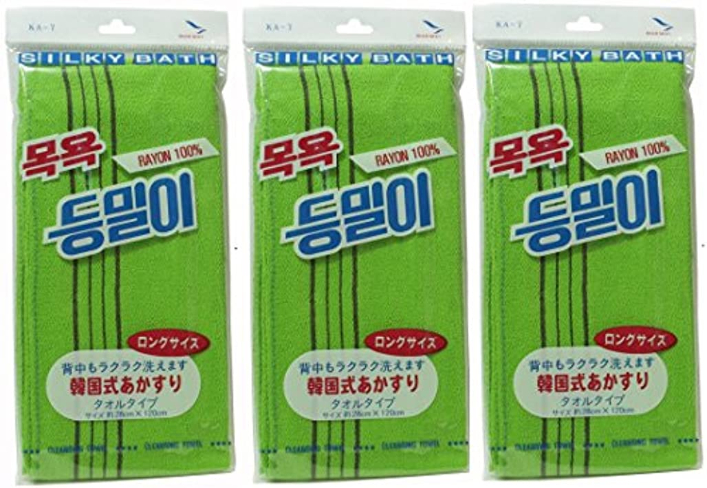 塗抹達成するトラブル韓国発 韓国式あかすり タオル ロングサイズ(KA-7)×3個セット