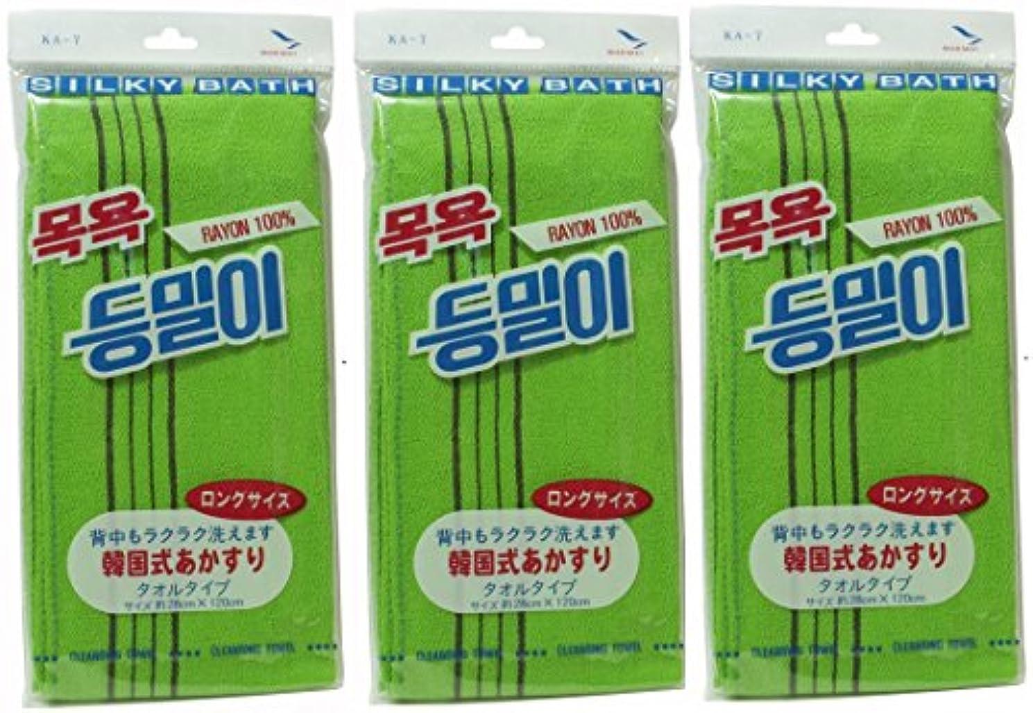 制限する正当なうねる韓国発 韓国式あかすり タオル ロングサイズ(KA-7)×3個セット