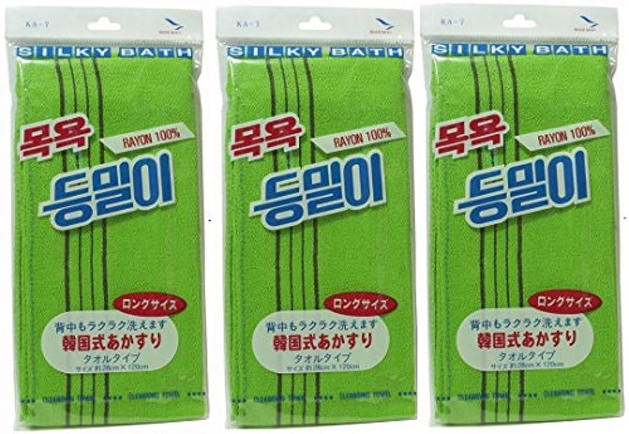 老人経由で刈り取る韓国発 韓国式あかすり タオル ロングサイズ(KA-7)×3個セット