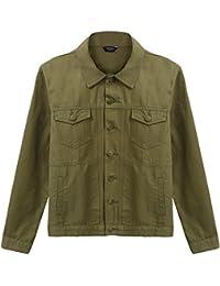 (クーファンディ) Coofandy ショートコート メンズ ジャケット おしゃれ 秋物 スタジャン 折り襟 ポケット 草食系 モード系 重ね着 グリーン ネイビー S~XXL