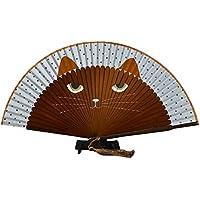 NUOLUX Folding Fan Hand Held Fans Summer Cute Cat Silk Bamboo Hand Fan 1pcs (Coffee)