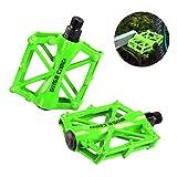 Basecamp ペダル 自転車 バイク サイクリングペダル スポーツペダル アルミ合金ペダル マウンテンバイク ロードバイク用 2個セット アウトドア 滑り止め加工 アルミ合金製 軽量 コンパクト 耐久性 (グリーン)