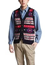 Ships Native Pattern Sweater Vest 116-51-0305: Navy