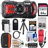 リコー WG-60 防水/耐衝撃 デジタルカメラ (レッド) 64GBカード+バッテリー&充電器+ケース+三脚+リモート+キット