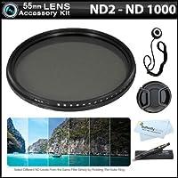 デラックス52mm NDX可変範囲ニュートラル密度Faderフィルタキット(調整可能からnd2-nd1000) +スナップオンレンズキャップ+キャップキーパー+ More For Nikon d7100, d7000, d5200, d5100, d3200, d3100, d800, d700, d600, d300s , d90DSLRカメラ 55mm AMAZ23765