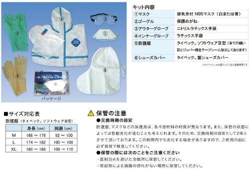 感染症防護対策キット☆(シューズカバー:長靴型)XLサイズ 1セット ICK-3(マスク・ゴーグル・手袋・防護服・シューズカバー)