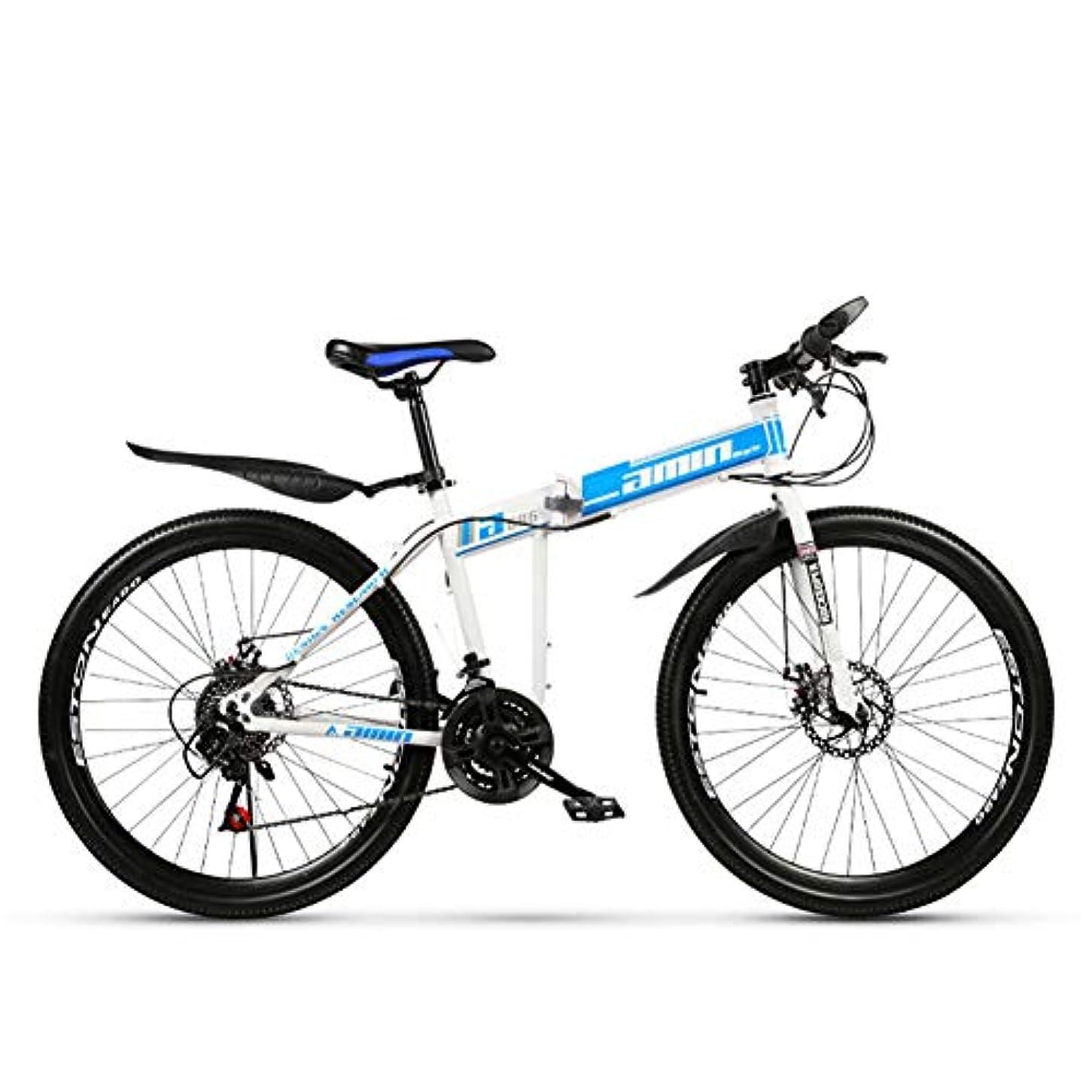 裕福な素子家禽24インチ折りたたみマウンテンバイク27速度スポークホイールマウンテン自転車ダブルディスクブレーキダブルダンピングバイク