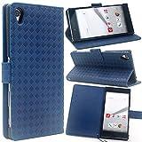 F.G.S 3点セット ダークブルー docomo Sony Xperia Z5 Premium so-03h ケース so-03h カバー so-03h 手帳 ケース スタンド機能付き カードホルダー付き 保護フィルムとストラップ付き 全5色 F.G.S正規代理品