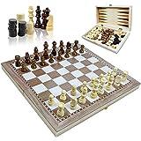3イン1 木製折りたたみトラベルゲームセット チェス チェッカー バックギャモンセット 子供 ティーン 大人 トラディショナルチェスゲーム 11.5 0.8インチ