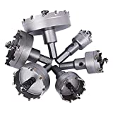 TCT ホールソー穴あけドリルビット セット 6PCS 22/30/35/45/50/65mm 鋼/ステンレス鋼管/ガラス/木工用/アルミニウム管/厚い薄い鋼板/鉄板 に対応の 穴あけ