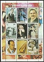 昭和天皇、モンロー、ディズニーらの切手 ニジェール1998年・'20年代の出来事9種連刷シート 自動車、ゴルフ、絵画、ルノワール