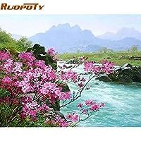 Klaxiaz(TM) ルーム装飾のための番号で花の川の景観DIYの絵画手塗りの油絵の家の壁のアートピクチャー