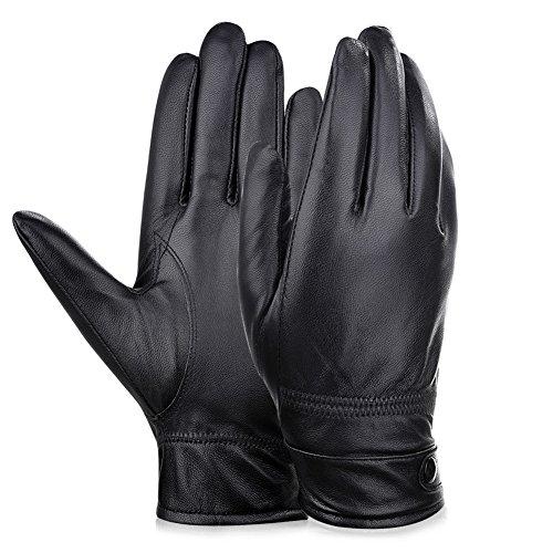 VBIGER 本革 手袋 メンズ シープスキン グローブ 裏起毛 防寒 羊革 紳士 男性用 ビジネス(ブラック, XL)