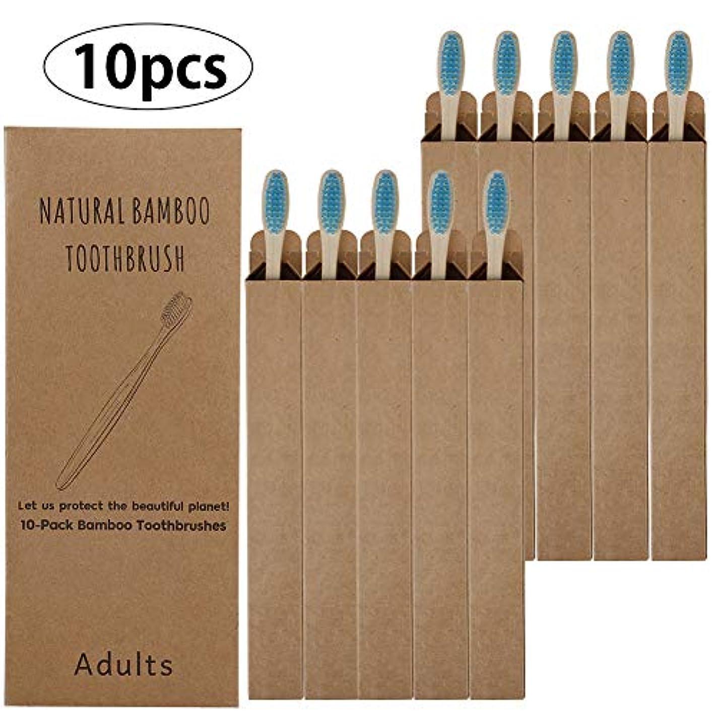 DC 10pcs 竹歯ブラシ 柔らかいブラシ 環境に優しい歯ブラシ 分解性 口腔ケア 子供用ハブラシ 家庭用 旅行用歯ブラシ Blue青
