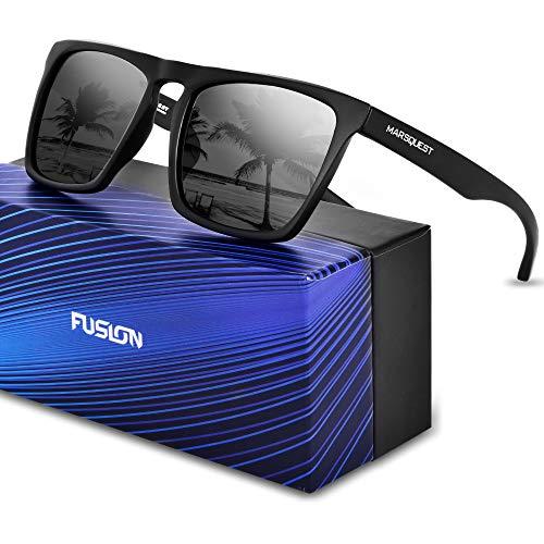 MARSQUEST 偏光 サングラス ミラー サングラス 方型 偏光レンズ 超軽量TR90フレーム採用 重さわずか19g 表面に特殊なコーティング技術加工 UV400紫外線・反射光・強光眩しい光・グレアからカット 一体式鼻当 落下防止デザイン 超抗衝撃 自転車・ドライブ・ランニング・釣り・登山・トレッキングなどスポーツにも最適 ファッションなデザイン 収納ポーチ付き FUSION (ブラック)