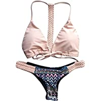 Sexy Women Halter Bikini Set Bandage Push-Up Padded Tie Swimwear Swimsuit Beachwear Pink