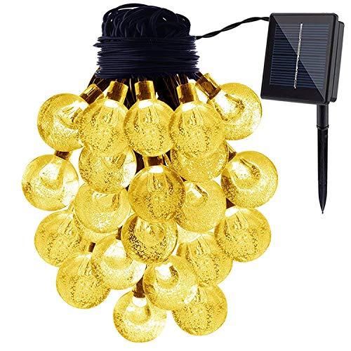 ソーラー イルミネーションライト ソーラーライト 屋外 ハロウィン装飾 ガーデンライト 20球4.8m 電球間隔22cm クリスマス 学園祭 LED飾りライト IP44防水 ウオームホワイト バブル型 ウオームホワイト ウオームホワイト 20
