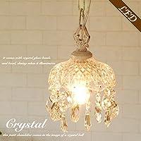 シャンデリア プチシャンデリア ミニシャンデリア Crystal Bell ホワイト ガラス シェード ビーズ 白 1灯 アンティーク風 LED対応