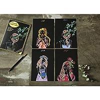 Wotion スクラッチアート削るだけで美しいアート塗り絵 ペーパーアート ナイトビュー 趣味 癒し アートセラピー 手芸 画材 ペーパーアート (漫画の女の子)