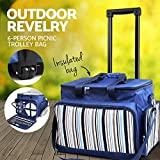 Alfresco Picnic Basket Set Trolley 6-Person Insulated Bag for Outdoor Camping Activities