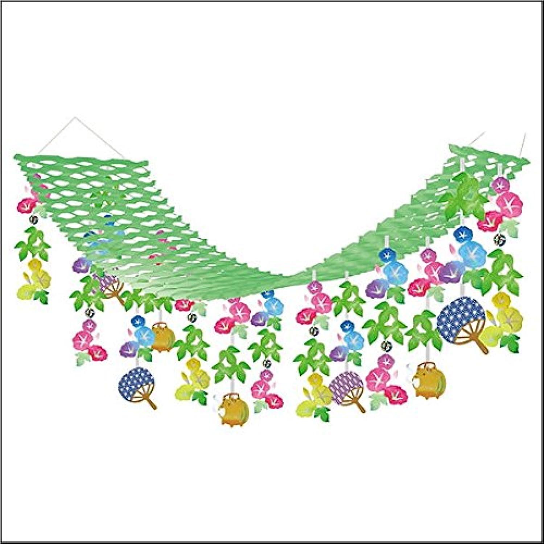夏装飾 朝顔蚊取ぶたプリーツハンガー L180cm / あさがお 飾り付け ディスプレイ  14501
