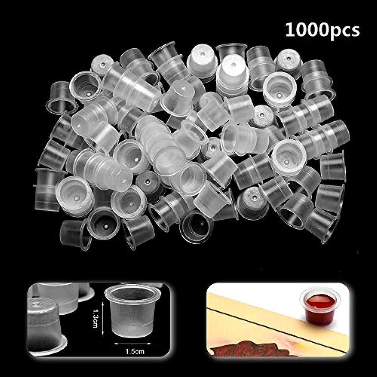 積極的に改修アイザックATOMUS インクキャップ、タトゥーインクカップ、使い捨て永久的な眉毛入れ墨ピグメントコンテナ、0.8cm 1.3cm 1.5cm 100個-1000個セット (1.5cm 1000pcs)