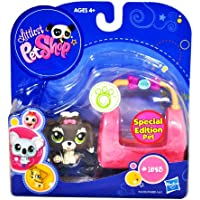 Hasbro Year 2009 Littlest Pet Shop Portable Pets Special Edition Pet Series Bobble Head Pet Figure Set #1523 - Grey White Lhasa Apso Puppy Dog with Cozy Carrier Bag (94439) by Littlest Pet Shop