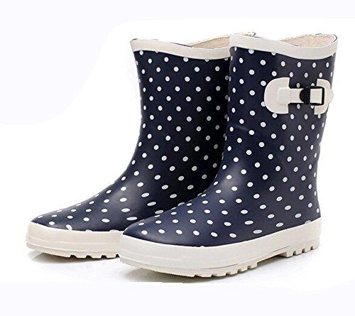 (Wansi)レディースミドルレインブーツシューズレインブーツ雨靴長靴長ぐつ梅雨対策滑り止めレインシューズレイングッズビジネスアウトドアおしゃれ雨靴ブルー22.5cm