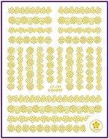 超薄型自己粘着3Dネイルアートネイルスライダーゴールドシルバーブラックホワイトウェーブホイール砥石ストーンレースCB038-043 CB043GOLD