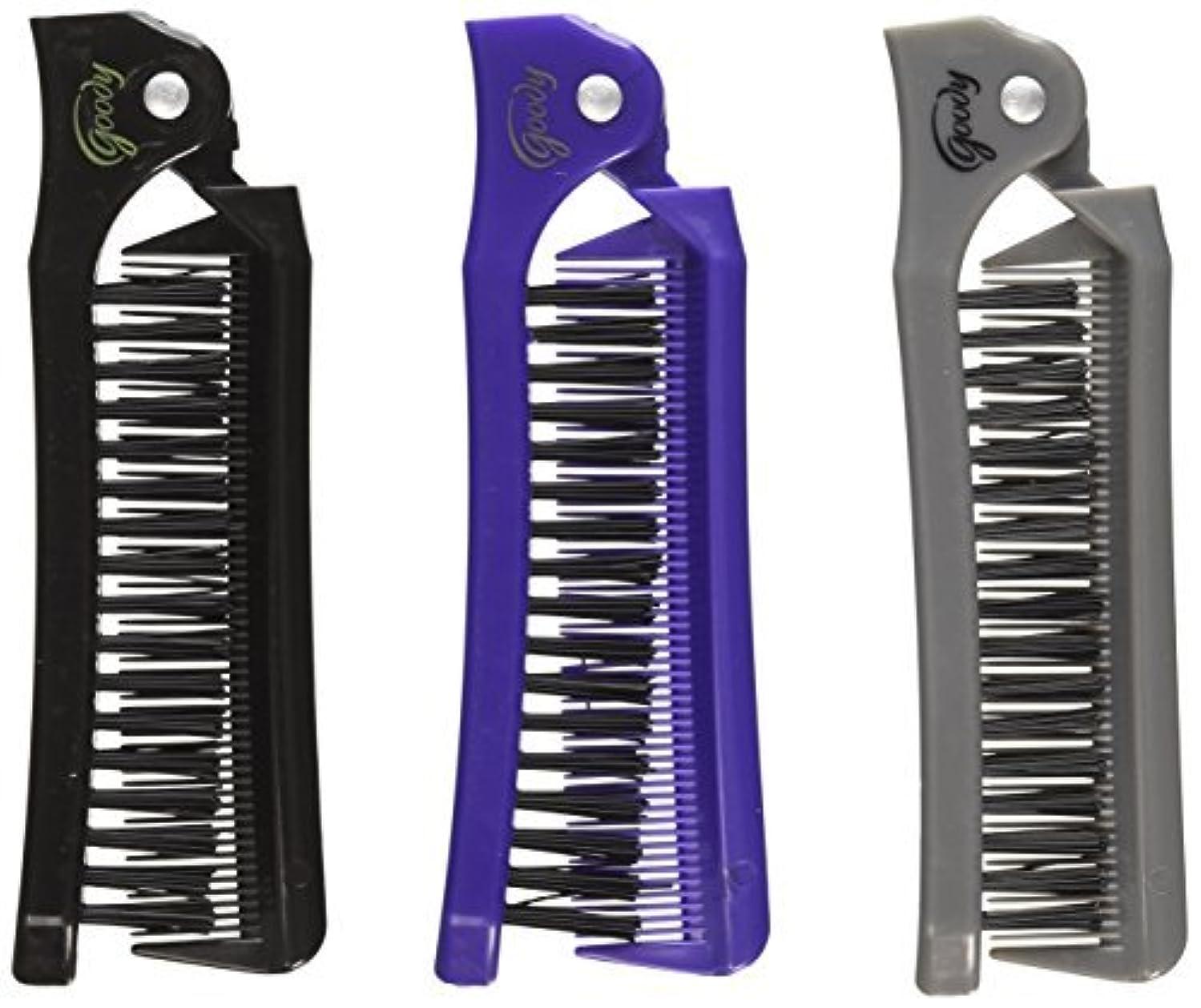 私達悪夢パイプGoody Style On The Go Folding Brush & Comb, Colors May Vary 1 ea (Pack of 3) [並行輸入品]