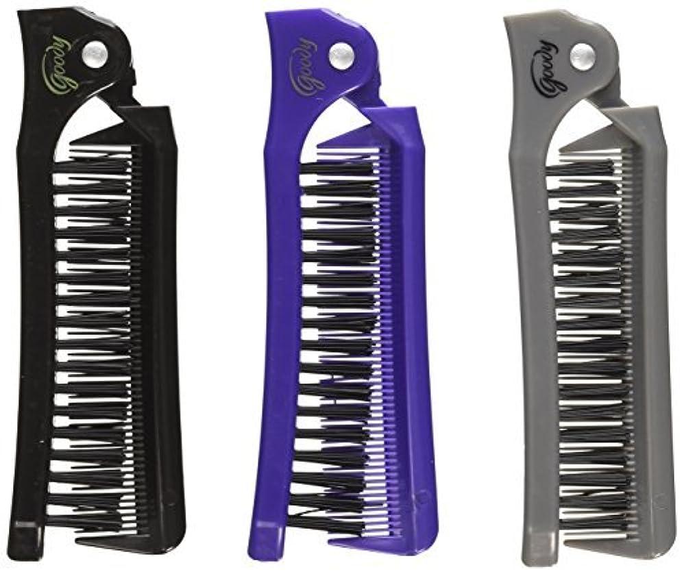 残り物部分的ふつうGoody Style On The Go Folding Brush & Comb, Colors May Vary 1 ea (Pack of 3) [並行輸入品]