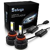 Safego LED ヘッドライト H8 H9 H11 フォグランプ 白 66W 6000ルーメン/2本セット COB製 冷却ファン内蔵モデル 2面発光 高輝度 12V 兼用 6000K 自動車 汎用 交換 コントローラー付き